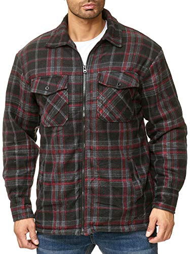ArizonaShopping Egomaxx Giacca Termica da Uomo Giacca Transizione Lumberjack Plaid Fleece in Flanella, Colore:Rosso, Dimensione Giacca:L