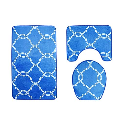 Bath Mat Set 3 Piece Soft Microfiber Non-slip Waterproof Toilet Set Print Bathroom Carpet Blue -