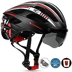 Leadfas Bicicleta Adultos Casco, Casco de Bicicleta de Carretera con Protector de Ojos Desmontable con Gafas Desmontables para Hombres y Mujeres Adultos.