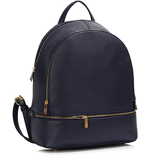 TrendStar Damen Rucksack Umhängetasche Schulrucksäcke Leder Reise Daypacks Tasche Schulranzen B - Marine