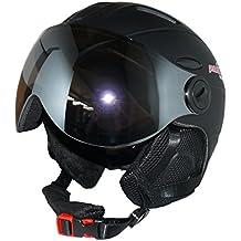protectWEAR - Casco de esquí MS95 negro mate con dos viseras plegables - L
