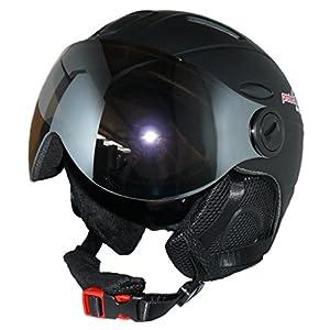 protectWEAR Skihelm MS95 schwarz matt mit Zwei Visieren klappbar