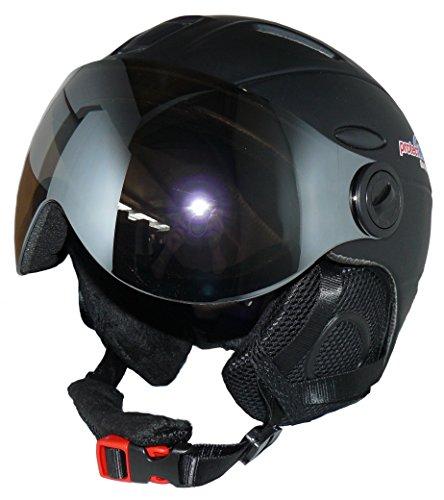Skihelm MS95 schwarz matt mit zwei Visieren klappbar - L