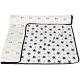 haus & kinder Muslin Baby Dream Blanket Cum Dohar for New Born, 100% Cotton Muslin, Triple Layer, 120 cm by 100 cm (Navy + Anchor)