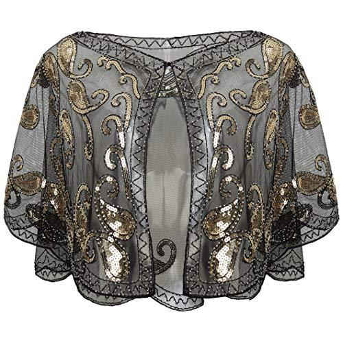 ArtiDeco 1920er Jahre Retro Schal Umschlagtücher für Abendkleider Braut Schal für Hochzeit Party Gatsby Kostüm Accessoires (Schwarz) -