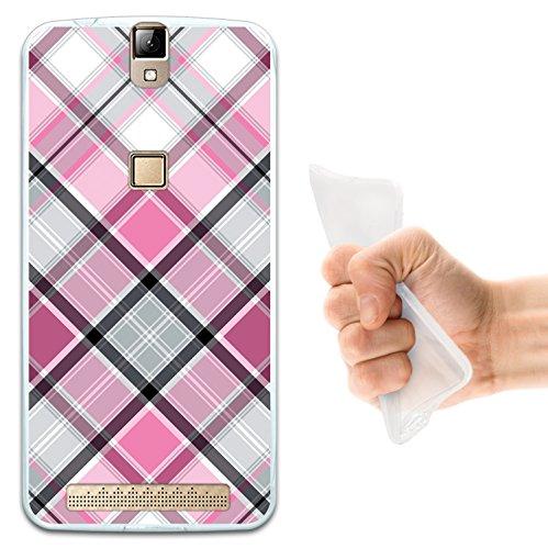 WoowCase Elephone P8000 Hülle, Handyhülle Silikon für [ Elephone P8000 ] Rhombus Pink Schottenkaro Handytasche Handy Cover Case Schutzhülle Flexible TPU - Transparent