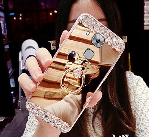 Funda Huawei Nova Plus, Huawei Nova Plus, Ikasus Bling Diamante Glitter Goma Chapado Espejo Maquillaje Funda con Soporte Oso Soporte Kickstand Suave TPU Bumper Case para Huawei Nova Plus,