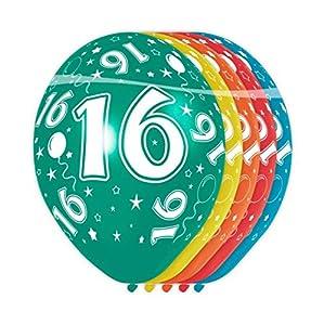 Folat - Globos con el número 16 (5 unidades, aptos para helio)