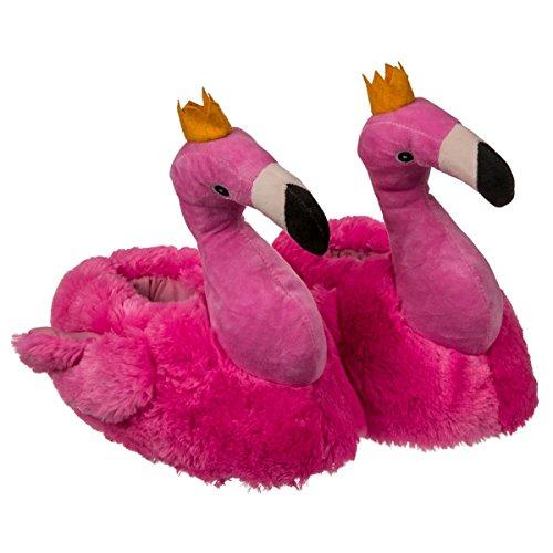 Plüsch Hausschuhe Flamingo, 3 Größen für Erwachsene 37/38, 39/40, 41/42, Pantoffeln in Form von Plüschtieren in Pink mit Krönchen,...