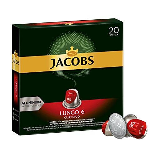 Jacobs Kaffeekapseln Lungo Classico, Intensität 6 von 12, 200 Nespresso®* kompatible Kapseln, 10 x 20 Getränke