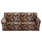 Sofa Cover 1 2 3 4 Seater Slip Cover Sofa Couch Stretch Elastic Fabric Sofa Protector (2 Seater, Brown Pattern)