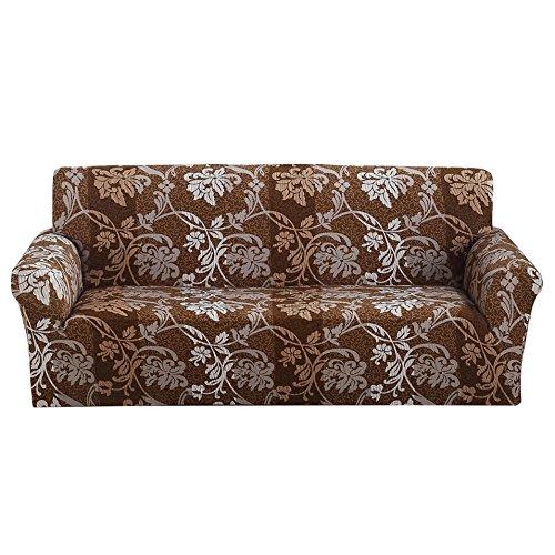 Copridivano in tessuto elasticizzato, per divano da 1-2-3-4 posti, brown pattern, 3 posti