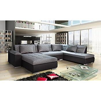 035b50ff9a9fd Canapé d angle panoramique Convertible Lemon Gris et Noir Style Moderne et  Design