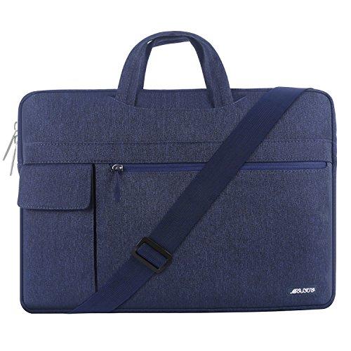 MOSISO Notebooktasche für 17-17.3 inch MacBook / Notebook / NetBook / Chromebook / Tablet, Polyester Flapover Art Laptop Schultertasche Sleeve Hülle Umhängetasche mit Griff und Schulterriemen aus strapazierfähigem als Messenger Bag, Navy Blau - Blaue Netbook-computer