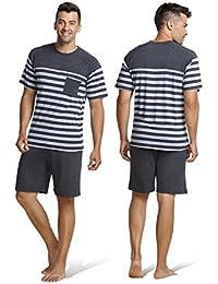 Sunshine Chow Hommes Coton ray¨¦ pyjamas v¨ºtements court -2 Pcs