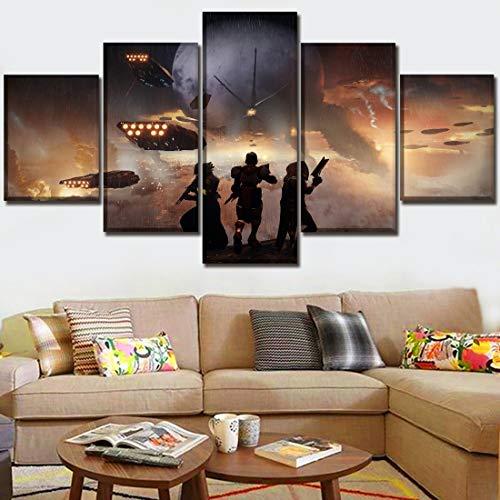 Angel&H Zuhause Wandkunst Segeltuch Dekor HD-Druck Poster 5 Stücke Spiel Destiny 2 Malerei zum Wohnzimmer Dekor Modular Bilder,A,30x40x2+30x80x1+30x60x2