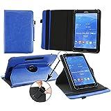 Emartbuy® Alcatel One Touch Pixi 8 Zoll Tablet Universal ( 7 - 8 Zoll ) Dark Blau PrämiePULeder360GradrotierendeStandFolioGeldbörseTascheHülle + Blau Eingabestift