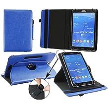 Emartbuy® HP Pro Slate 8 Tablet Universale ( 7 - 8 Pollice ) Dark Blu PU Pelle 360° Rotante Folio Wallet Custodia Case Cover + Blu Stilo