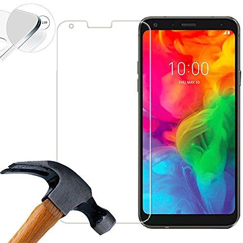 Lusee 2 X Pack Panzerglasfolie für LG Q7 Plus/LG Q7 5.5 Zoll Tempered Glass Hartglas Schutzfolie Folie Bildschirmschutz 9H (Nur den flachen Teil abdecken)
