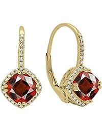 5118fbe981b 10 K Or jaune 6 mm chaque Pierre précieuse de coussin et ronde diamants  blancs pour femme Halo Style Boucles…