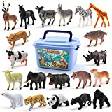 XUMING Figura di Animali, 58 Pezzi Mini Jungle Animals Set di Giocattoli, Zoo World Realistic Wild Vinyl Pastic Animal Resource Learning, Adatto per Bambini di età Compresa tra 3-7