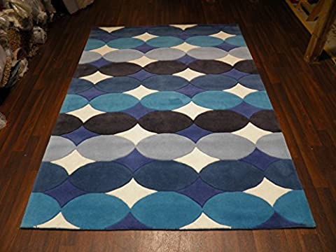 Indian Hand Tufted Textured 100% Wool Rug 160cm x 230cm Approx 8x5 Blue