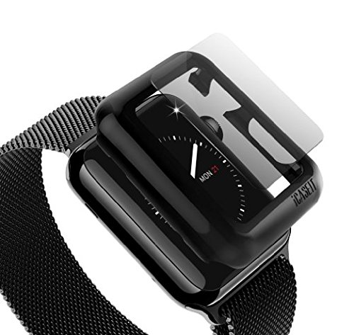iCASEIT Apple Watch Snap-On Case & Glass 38mm (Pack of 3) Premium Slim & Light Impact & Scratch Protection (Include 3 Screen Protectors) iWatch Cases 38 mm - Black x 3