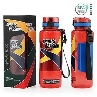 Uzspace Trinkflasche Tritan Wasserflasche - 500ml & 800ml &1.2L & 1.5L - BPA-frei - Ideale Sportflasche - Schnelle Wasserdurchfluss - Sport, Wasser, Fahrrad