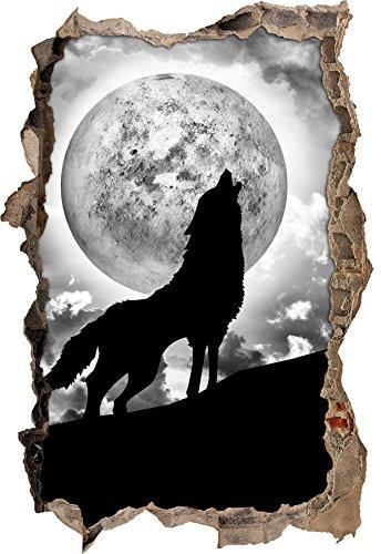 Monocrome, Wolf heult Mond an Wanddurchbruch im 3D-Look, Wand- oder Türaufkleber, Wandsticker, Wandtattoo, Wanddekoration