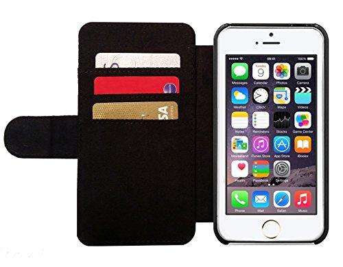 Leder Flip Case Tasche Hülle für Apple iPhone 5/5S - Schwarze Gold Blumenmandala by Nina Baydur Lederoptik