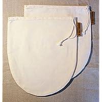 Nussmilchbeutel im Doppelpack (2 Filter) aus Baumwolle (Eco) handgefertigt in Deutschland - Passiertuch und Seiher für vegane Milchalternativen