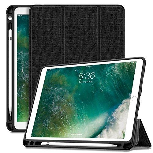 Infiland iPad Air 10,5 Zoll (3. Generation) 2019/ iPad Pro 10,5 Hülle mit Pencil Halter, Ultra Schlank Ständer Schutzhülle Case Tasche mit Auto Schlaf/Wach für iPad Air 3/10,5 iPad Pro, Schwarz