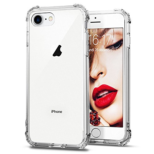 JSB Coque iPhone 7/8, Coque transparent en TPU Silicone Housse de Protection avec Absorption de Choc Ultra Léger Etui Crystal Clear pour iPhone 7/8-Transparant