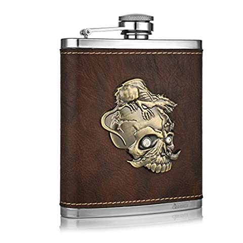 GENNISSY Pocket Hip Flask 8 Oz with Funnel - Stainless Steel withLeather Wrapped Cover and 102% Leak