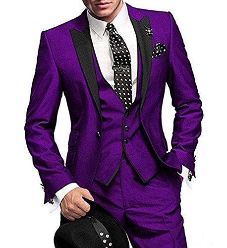 Solovesdress Herren Groomsmen Blazer Dreiteilige Herren Anzug Smoking Jacke Tux Weste(Lila,40)