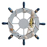 Thmyo 11-inch, mit Rad, Nautical Strand mit Boot, Schiff Lenkrad-Fischernetz mit Heim-Dekoration, holz, Yellow Fish