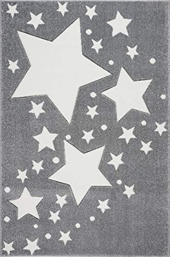 Kinderteppich Kinderzimmer Babyteppich mit Sternen Punkte in Silber grau Weiss Größe 120 x 170 cm ()