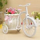 Bluelover Große Rattan Dreirad Fahrrad Blume Korb Vase Lagerung Partei Dekor-Rosa + Weiß