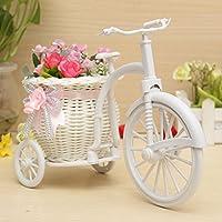Bluelover Grande Rattan Triciclo Bici Cestino Del Fiore Vaso Partito Bagagli Decorazione - Pink +