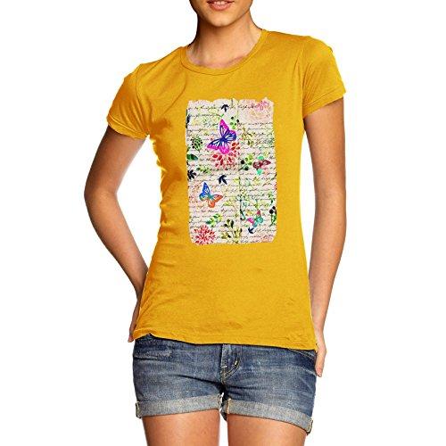 twisted-envy-libro-stampa-farfalle-e-fiori-maglietta-da-donna-yellow-x-large