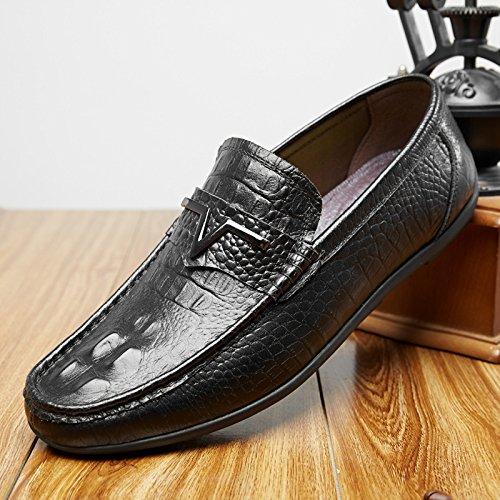 Flyhigh Herren Leder Mokkasins Schlüpfen Beiläufig Loafers Halbschuhe Schuhe Schwarz Braun Schwarz