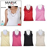 Maria Angel Lingerie Ladies Plain Cotton Wide Strap Vest Top Lace Trim Neck Design Cami Tank Camisole