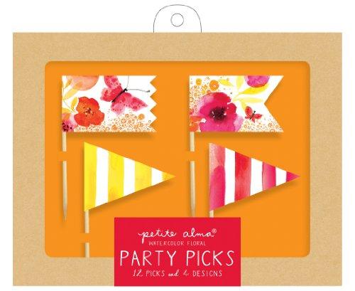 Petite Alma Watercolor Floral Party Picks