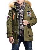 MILEEO Kinder Jungen Lange Winterjacke mit kapuze Wintermantel Mantel Parka Outerwear Oberbekleidung Winter Kleidung Kinderjacke, MGrün