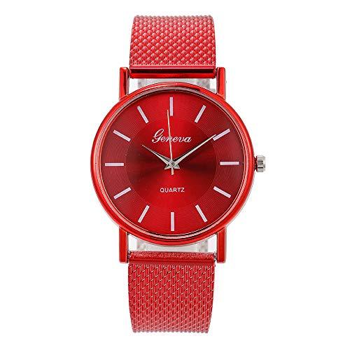 KiyomiQvQ Damen Uhren Glänzend Mode Zifferblatt Armbanduhren Business Klassisch Stahlband Wristwatch Helles Pulver Sternenhimmel Elegant Watch Quarz Uhr