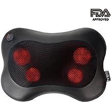 Naipo Shiatsu Massagekissen Nackenmassagegeräte für Schulter Rücken mit 3D Massageköpfen und Infrarot Wärmefunktion Masseur Massage im Auto Büro Zuhause