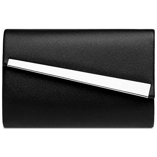 CASPAR TA418 Damen Metallic Baguette Clutch Tasche Abendtasche, Farbe:schwarz;Größe:One Size