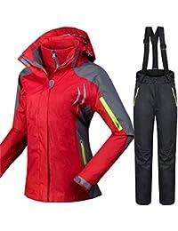 QZHE Traje de esqui Trajes De Esquí De Invierno para Mujeres, A Prueba De Viento, Transpirable, Snowboard Chaquetas + Pantalones Al…