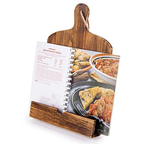 Schneidebrett Stil Holz Rezept Kochbuch iPad Tablet Ständer Halter stehen, mit Ständer, braun - Rezept-halter Ipad Für