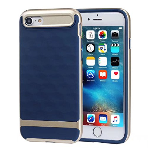 Custodia iPhone 7, iPhone 7 Cover Silicone, SainCat Custodia in Silicone Morbido Cover per iPhone 7, Antiurto Shock-Absorption 3D Silicone Case Ultra Slim Sottile Morbida TPU Gel Cover Silicone Case A Blu + Gold
